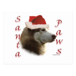 Patas de Santa del husky siberiano Tarjetas Postales