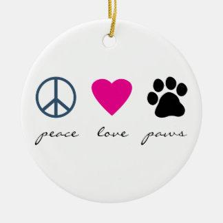 Patas del amor de la paz adorno navideño redondo de cerámica