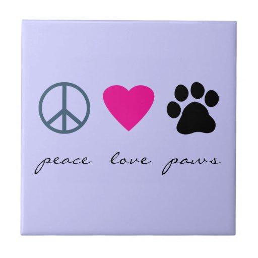 Patas del amor de la paz azulejo cuadrado pequeño