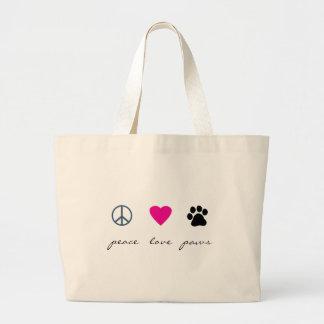 Patas del amor de la paz bolsa de tela grande