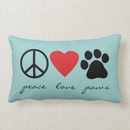Patas del amor de la paz cojin