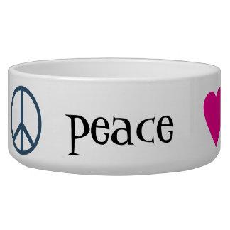 Patas del amor de la paz comedero para mascota