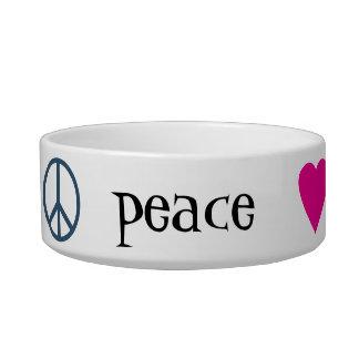 Patas del amor de la paz tazones para comida para gato