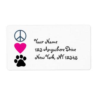 Patas del amor de la paz etiquetas de envío