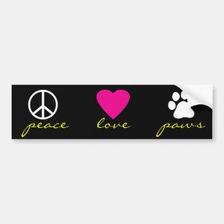 Patas del amor de la paz etiqueta de parachoque