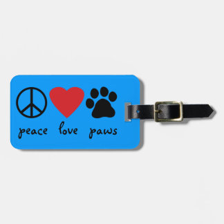 Patas del amor de la paz etiquetas bolsa