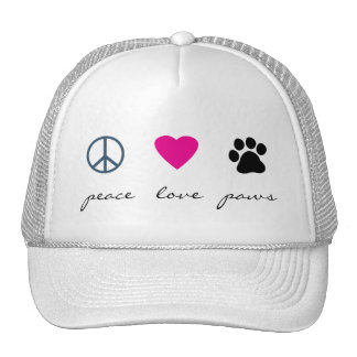 Patas del amor de la paz gorra