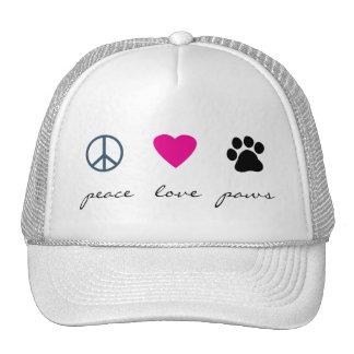 Patas del amor de la paz gorras de camionero