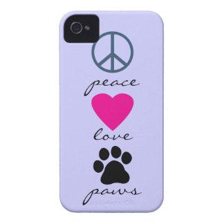 Patas del amor de la paz iPhone 4 carcasa