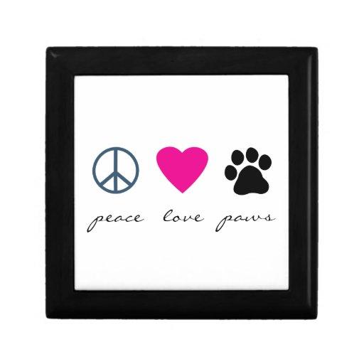 Patas del amor de la paz joyero cuadrado pequeño