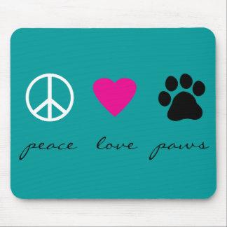 Patas del amor de la paz mouse pad