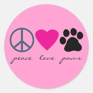 Patas del amor de la paz pegatinas redondas