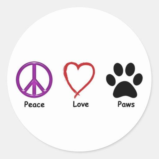 Patas del amor de la paz pegatina redonda