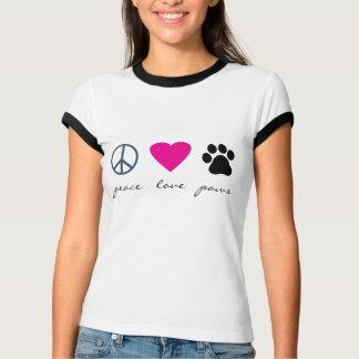 Patas del amor de la paz playera