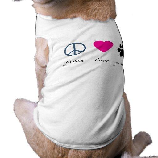 Patas del amor de la paz ropa para mascota