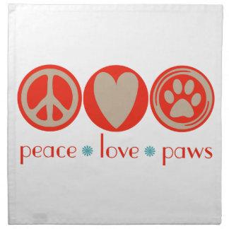 Patas del amor de la paz servilletas imprimidas