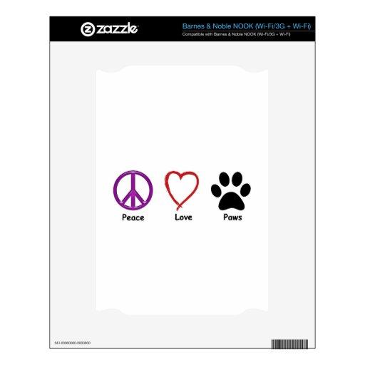 Patas del amor de la paz skin para el NOOK