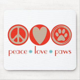 Patas del amor de la paz tapetes de raton