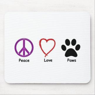Patas del amor de la paz alfombrilla de raton