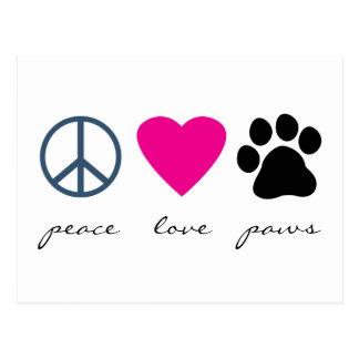 Patas del amor de la paz tarjetas postales