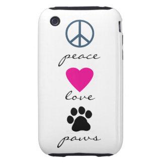 Patas del amor de la paz tough iPhone 3 protector