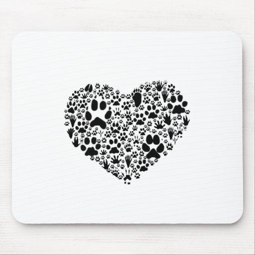 Patas del corazón tapete de ratones