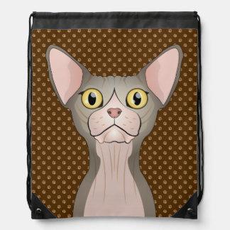 Patas del dibujo animado del gato de Sphynx (bicol Mochila