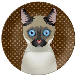 Patas del dibujo animado del gato del Balinese Platos De Cerámica