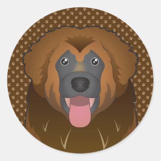 Patas del dibujo animado del perro de Leonberger Pegatina Redonda