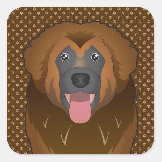 Patas del dibujo animado del perro de Leonberger Calcomania Cuadrada Personalizada