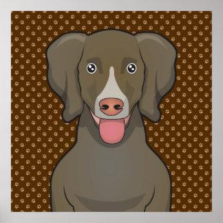 Patas del dibujo animado del perro de Weimaraner