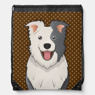 Patas del dibujo animado del perro del border coll mochila