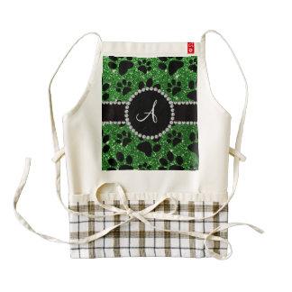 Patas del perro del brillo del verde del monograma delantal zazzle HEART
