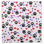Patas del perro, huesos, puntos, corazones - azul