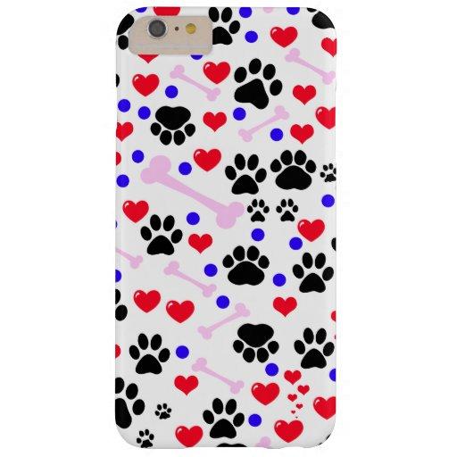 Patas del perro, huesos, puntos, corazones - azul funda de iPhone 6 plus barely there