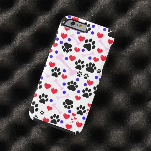 Patas del perro, huesos, puntos, corazones - azul funda de iPhone 6 tough