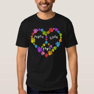 ¡patas del signo de la paz! ¡Corazón del arco iris Playeras