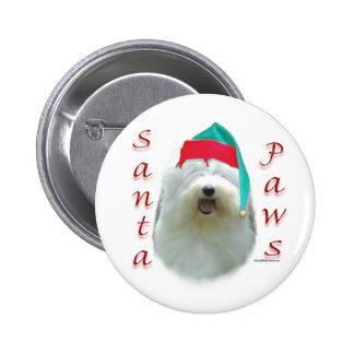 Patas inglesas viejas de Santa del perro pastor Pin Redondo De 2 Pulgadas