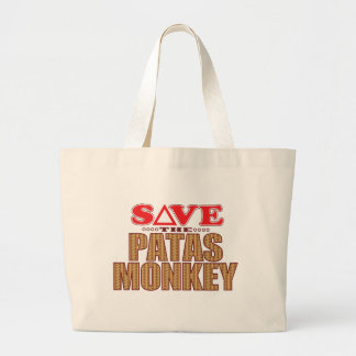 Patas Monkey Save Large Tote Bag