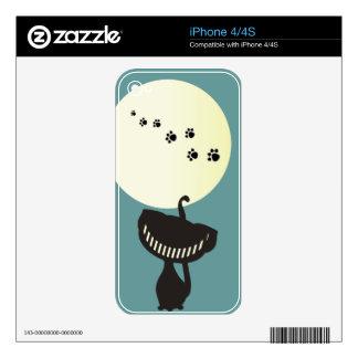 patas negras de la luna del gato de Cheshire Calcomanía Para El iPhone 4