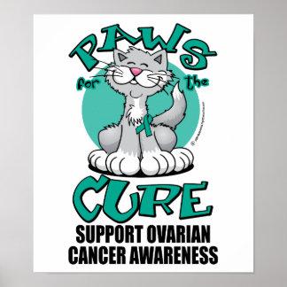 Patas para el cáncer ovárico del gato de la curaci póster