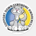 Patas para el gato de Síndrome de Down Pegatinas Redondas