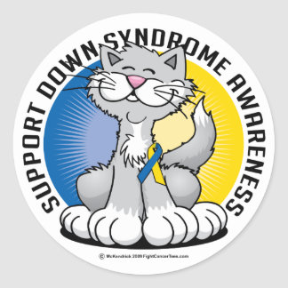Patas para el gato de Síndrome de Down Pegatina Redonda