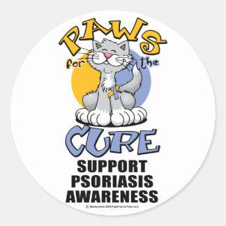Patas para el psoriasis del gato de la curación pegatina redonda