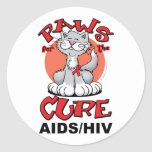 Patas para el SIDA del gato de la curación Pegatina Redonda