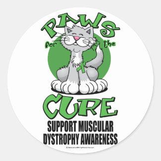 Patas para la distrofia muscular del gato de la pegatina redonda