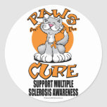 Patas para la esclerosis múltiple del gato de la pegatina redonda