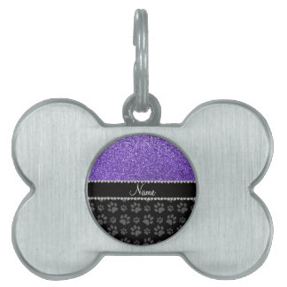 Patas púrpuras conocidas personalizadas del negro placa mascota