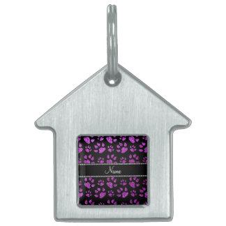 Patas púrpuras de neón conocidas personalizadas de placa mascota
