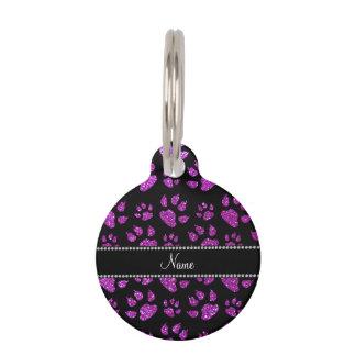 Patas púrpuras de neón conocidas personalizadas placas de mascota